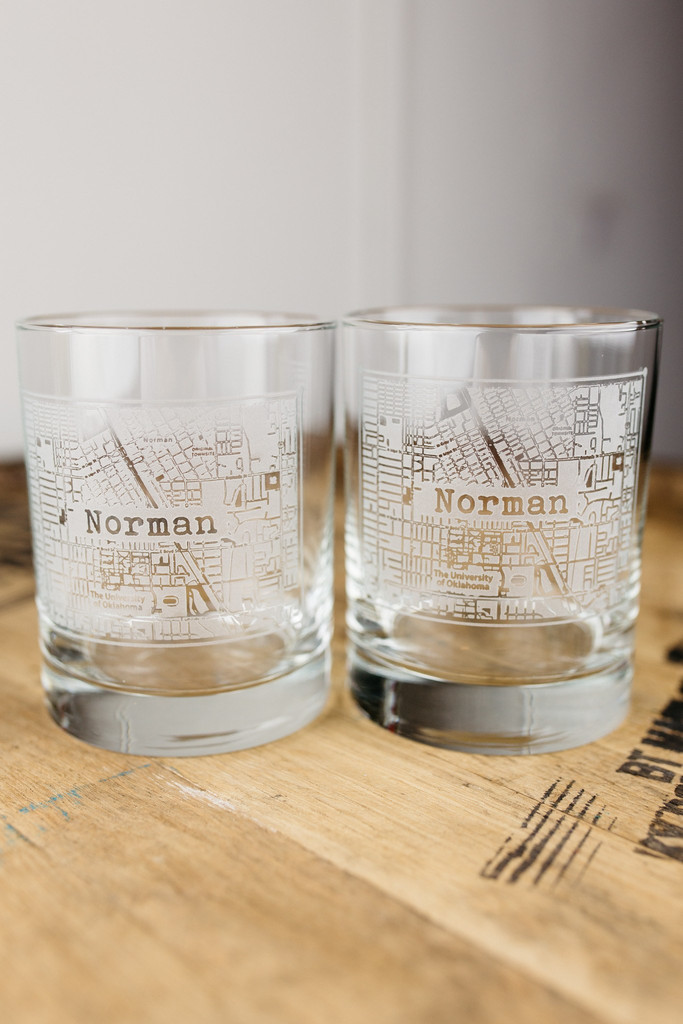 Norman College Town Rocks Glass Set
